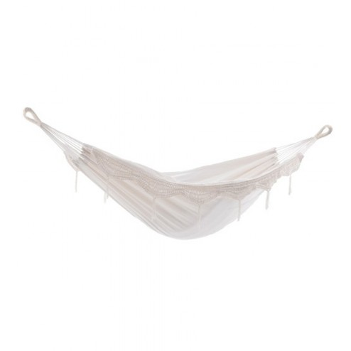 Brazilian Double Hammock - Natural with Fringe