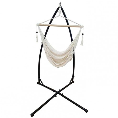 White Cotton Rope Hammock Chair and Stand Combo