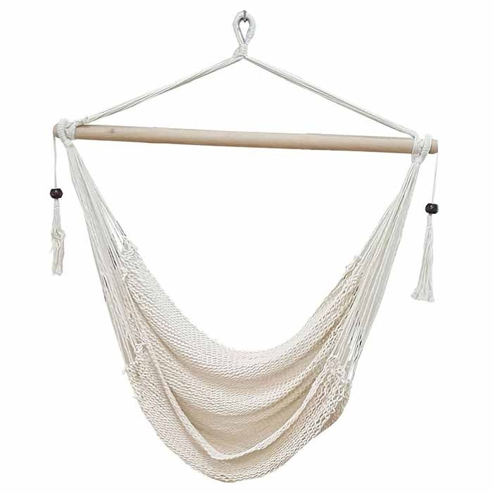 Medium image of white cotton rope hammock chair with tassels