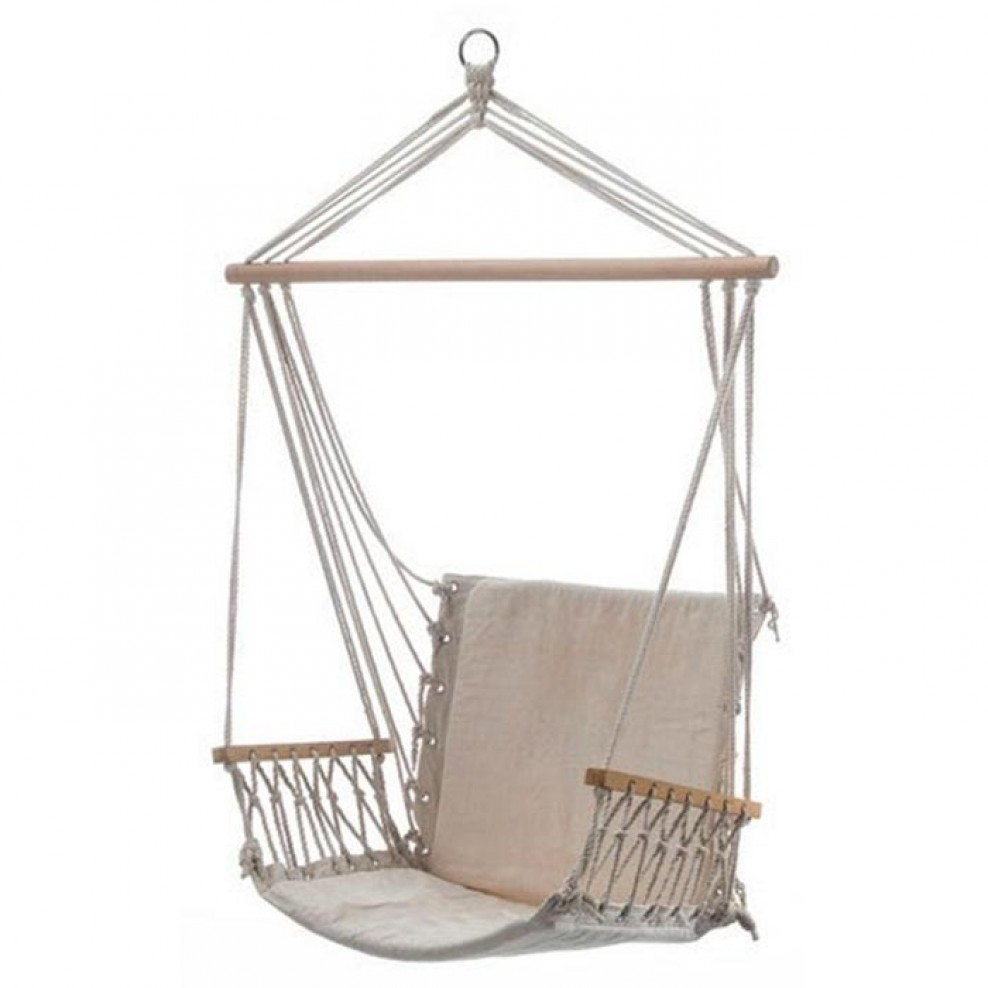 Beige Padded Hammock Chair With Wooden Arm Rests Bho