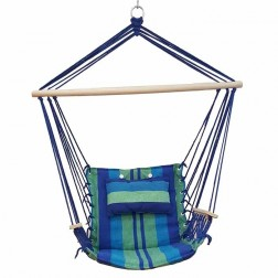 Blue Padded Hammock Chair with Wooden Arm Rests and Pillow