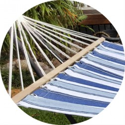 Large Blue and White Canvas Hammock with Spreader Bar