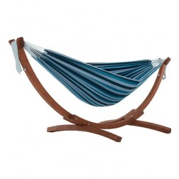 Solid Pine Frame & Double Hammock Combo - Blue Lagoon