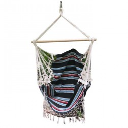 Dark Multi Colour Canvas Hammock Chair with Fringe