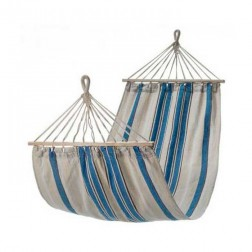Small Blue and White Canvas Hammock with Spreader Bar