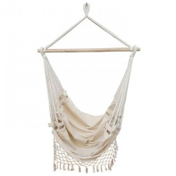 Beige Canvas Hammock Chair with Tassels