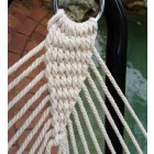 Large White Cotton Rope Hammock with Spreader Bar