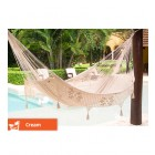 Queen Deluxe Outdoor Hammock - Cream with colour indication