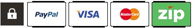 PayPal - Visa - Master Card - ZipPay